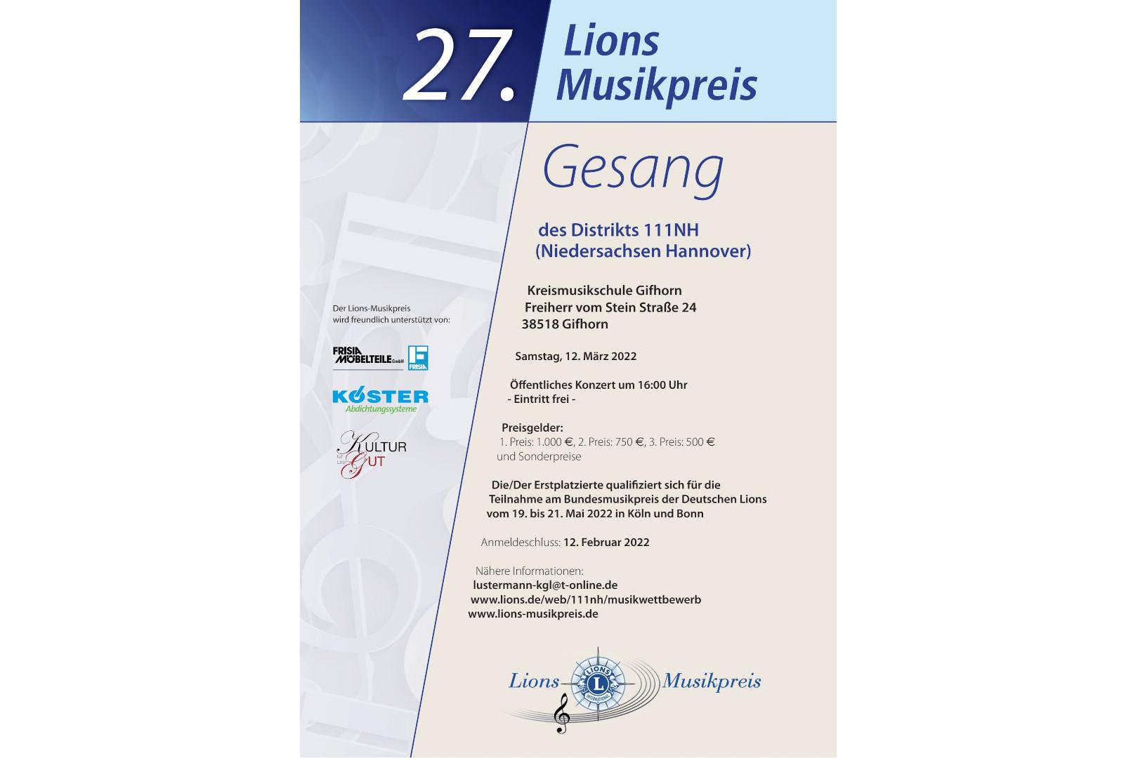 Der 27. Lions Musikwettbewerb mit der Aufgabe Klassischer Gesang
